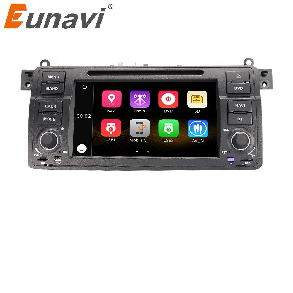 Eunavi Autoradio 7 ''1 Din lecteur DVD de voiture pour BMW E46 M3 318/320/325/330/335 Rover 75 1998-2006 1din GPS Navigation bluetooth