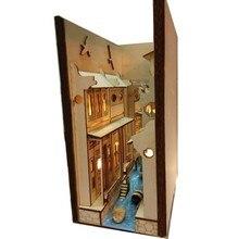 DIY Alley Buch Nook Holz Jiangnan Wasser Stadt Wuzhen embly Modell Bücherregal Straße mit Licht Modell Gebäude Kit