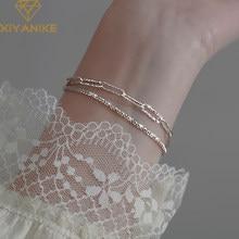 XIYANIKE-pulsera de cadena de diamantes de imitación para mujer, de Plata de Ley 925, temperamento de enfoque de moda, joyería de lujo ligera de alta calidad