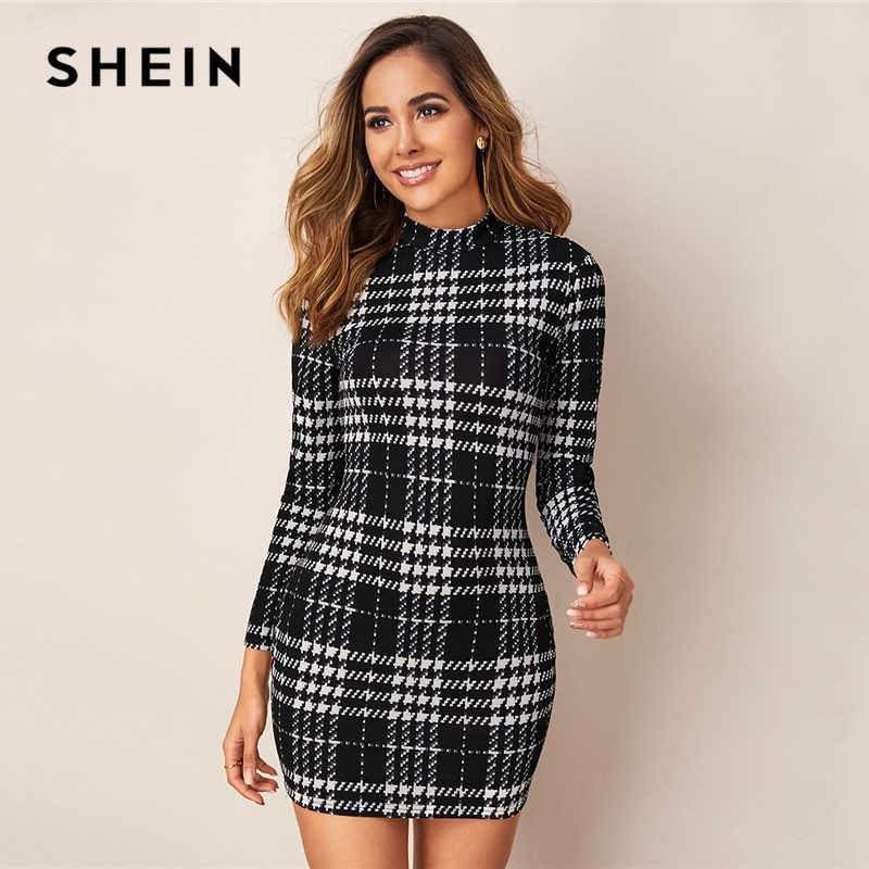SHEIN สีดำและสีขาวลายสก๊อตคอลเลกชัน Elegant Bodycon ชุดผู้หญิง 2019 ฤดูใบไม้ร่วงแขนยาวสุภาพสตรี Skinny มินิเดรส