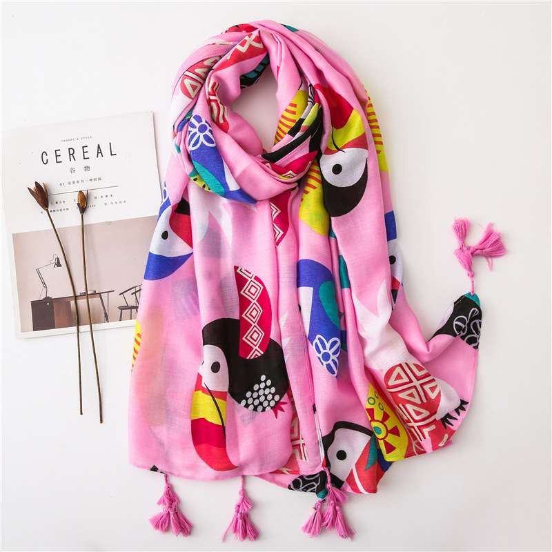 Creative Cartoon Cute Pink Bird Print Cotton Hemp Scarf Summer Tourism Sunscreen Shawl Beach Sarong Wraps