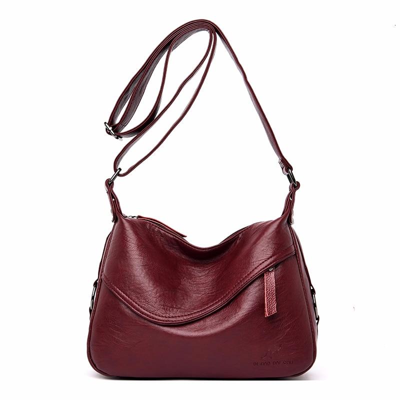 Crossbody Bags For Women Messenger Bags Female Soft Leather Shoulder Bag  Sac A Main Luxury Designer Vintage HandBags Women NewTop-Handle Bags   -