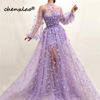 Purple Perspective Sexy Long Sleeve Evening Dresses High Neck Handmade Flowers Evening Gowns 2019