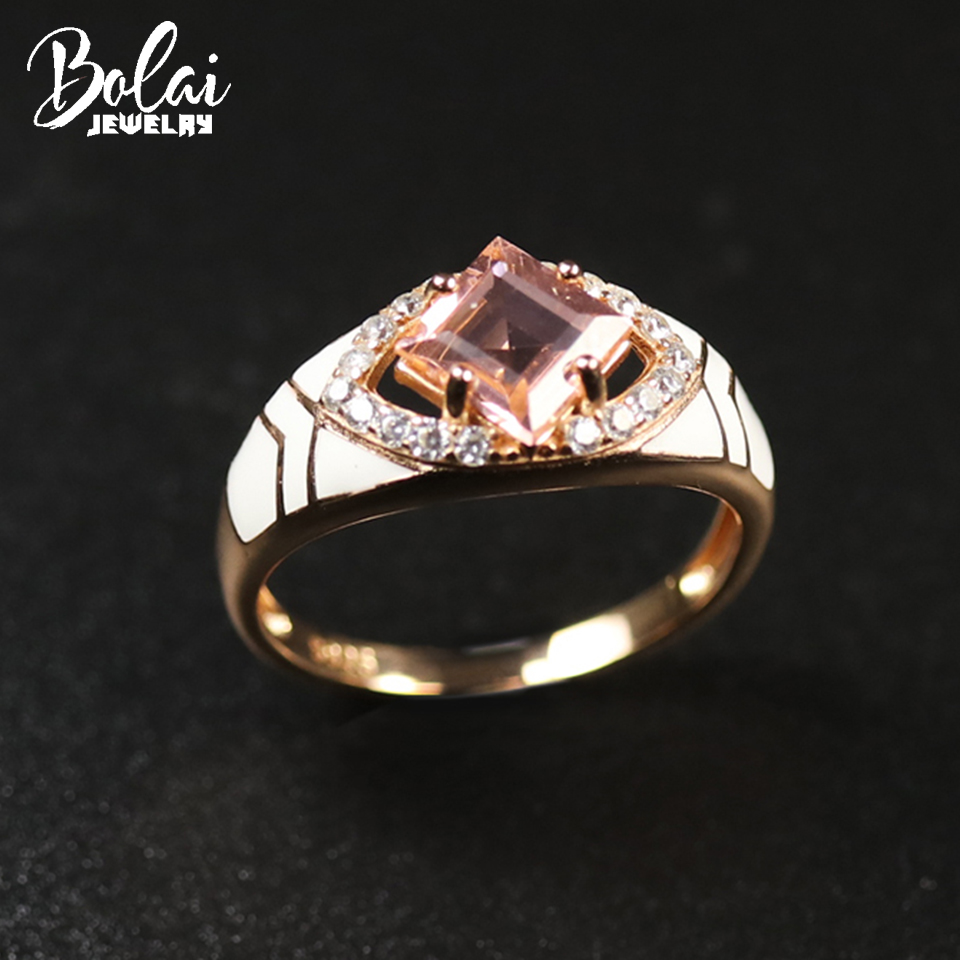 Bolai Pink Morganite Ring Genuine 925 Sterling Silver Enamel Synthetic Gemstone Fine Jewelry for Women Ladies Rings Gift 2020