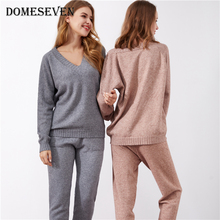 Women Sets Knitwear Tracksuit Sweater Long-Pants Sexy Casual Ladies 2pieces V-Neck Autumn