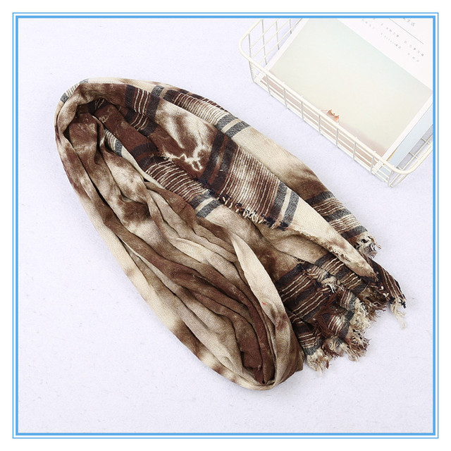 KMS coton rayé à la main cravate teinture écharpe rétro coton et lin voyage chaud châle crème solaire 78*195CM/160G