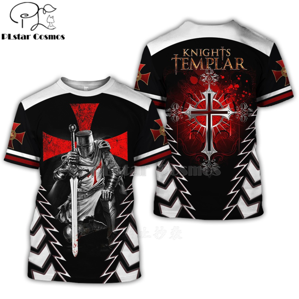 PLstar Cosmos All Over Printed Knights Templar 3d t shirts tshirt tees Winter autumn funny Harajuku short sleeve streetwear-6(China)