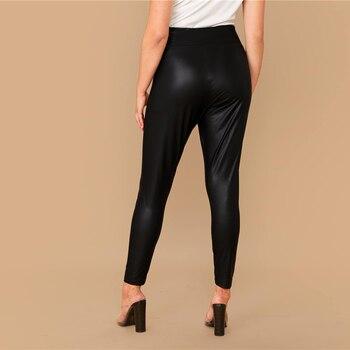 Plus Size Elastic Waist Leather Look Cropped Leggings