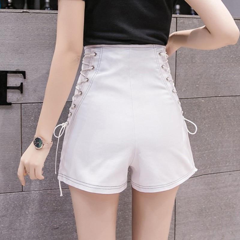 Women Punk Style Fashion Zipper Lace Up Denim Shorts Ladies Streetwear Black White High Waist Slim Fit Summer Jeans Short Female