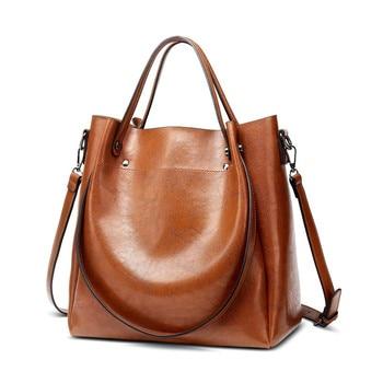 Female Casual Handbags Women Tote Shoulder Bag PU Leather Ladies Bucket Handbag Messenger Bag Soft Small Shopping Crossbody Bags
