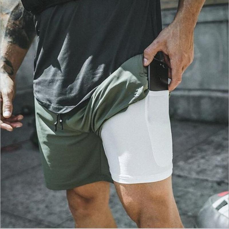 Men's 2 in 1 Running Shorts Security Pockets Leisure Shorts Quick Drying Sport Shorts Built-in Pockets Hips Hiden Zipper Pockets(China)