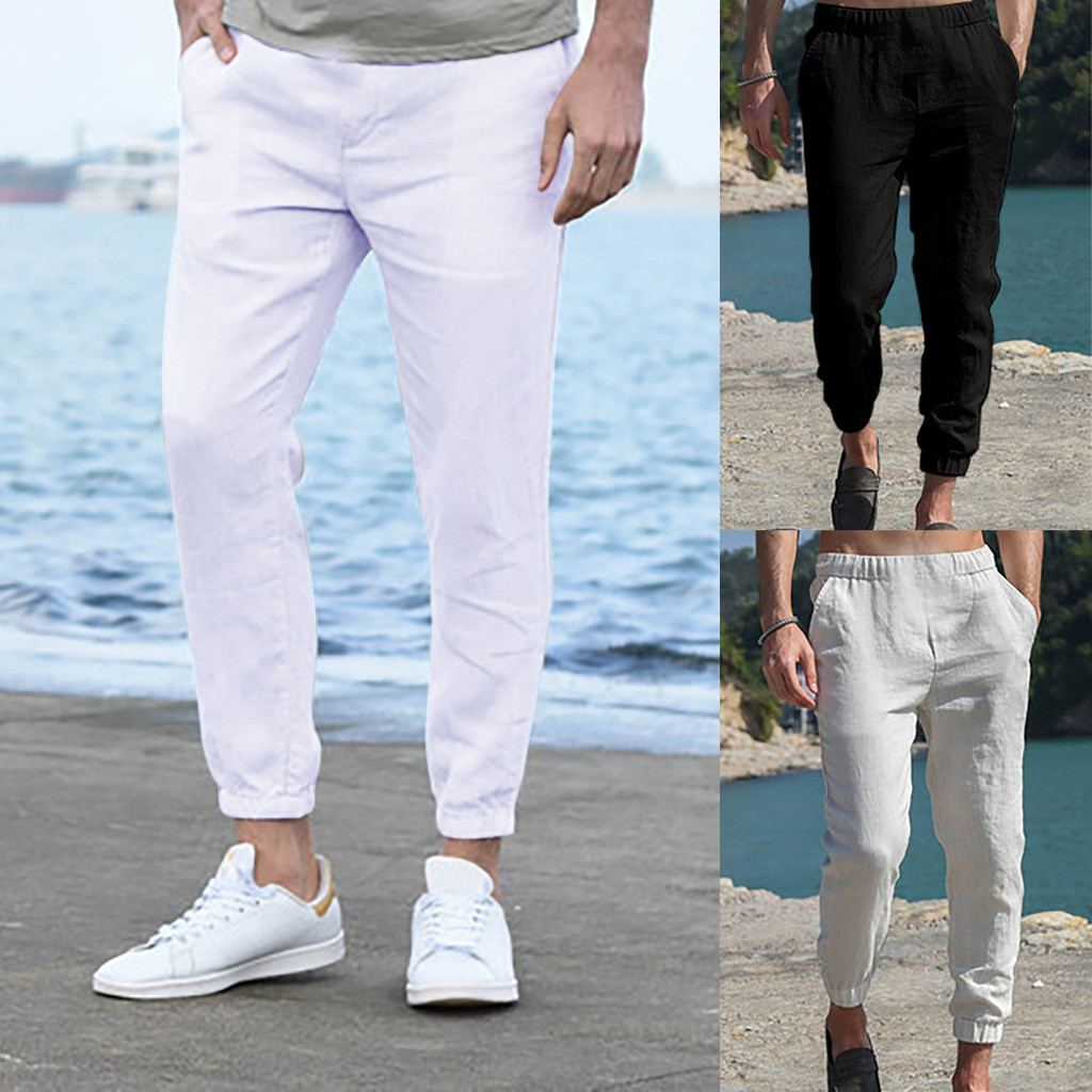 Dropshipping Casual Tops Plus Size  Fashion Men Pure Color Overalls  Pocket Sport Work Casual Trouser Ankle-Length Pants  Wo Man
