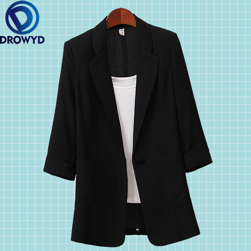 Open Front Notched Blazer 2020 Summer Women Formal Jackets Office Work Loose Fit Blazer Black Ladies Suits 3 Colors Size M-4XL