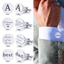 Spinki do mankietów ze stali nierdzewnej niestandardowe data ślubu mankiet do koszuli przycisk okrągły klips Llink spersonalizowane drużba tata mężów prezenty