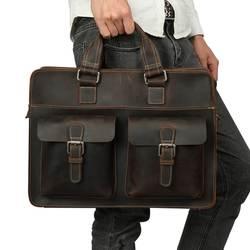JOYIR 2019 винтажная Мужская коровья натуральная кожа портфель Crazy Horse кожаная сумка-мессенджер мужская сумка для ноутбука мужская деловая