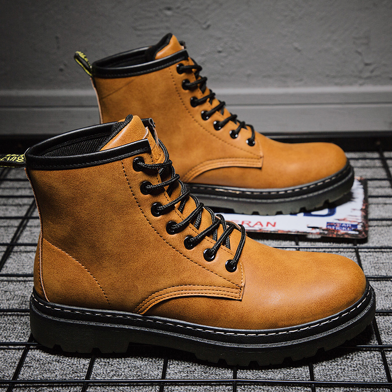 Мужские ботинки на шнуровке Зимняя мужская обувь на шнуровке 2019 г. Новинка, модная теплая зимняя мужская повседневная обувь из флока и плюша