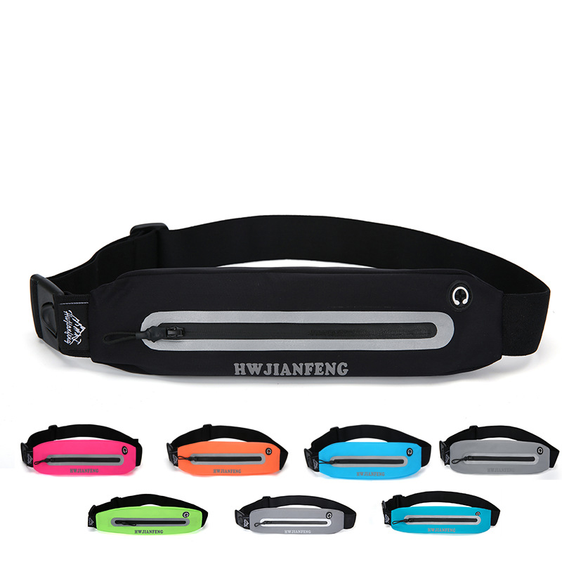 Outdoor Sport Running Waist Bag with Headphone Hole Bum Bag Waterproof High Quality with Night Refective Strip Gym Belt Bag