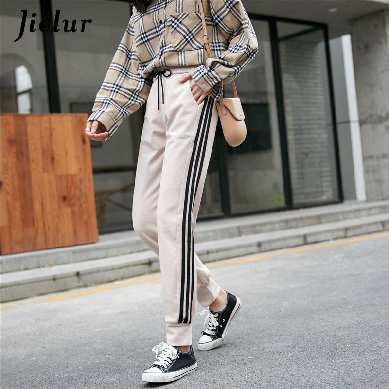 Jielur High Waist Pants 2019 New Autumn Women Stripe  Harajuku Slim Black Trousers M-XXL Pantalon Femme Elastic
