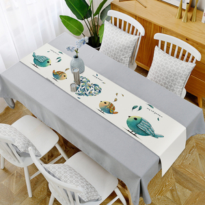 Image 2 - Modern Simple Style Table Runner Animal and Green Plants Printed Table Runner for Wedding Party Home Hotel Bed Flag Tail Towel