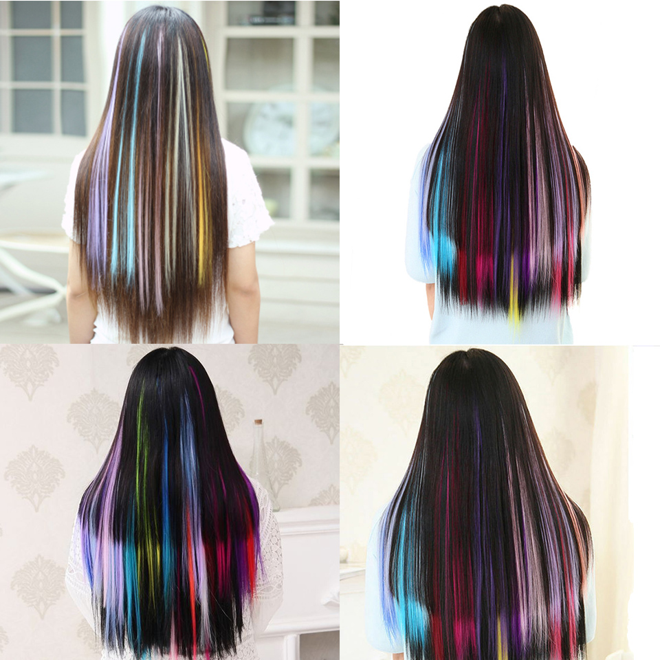 H95aa059a74814487b0d11c1dccb8bad9Y - Lupu Rainbow Highlighted Hair Girl One Chip In Hair Extension Synthetic Long Straight Hair Clip Hair Clip Straight Hair