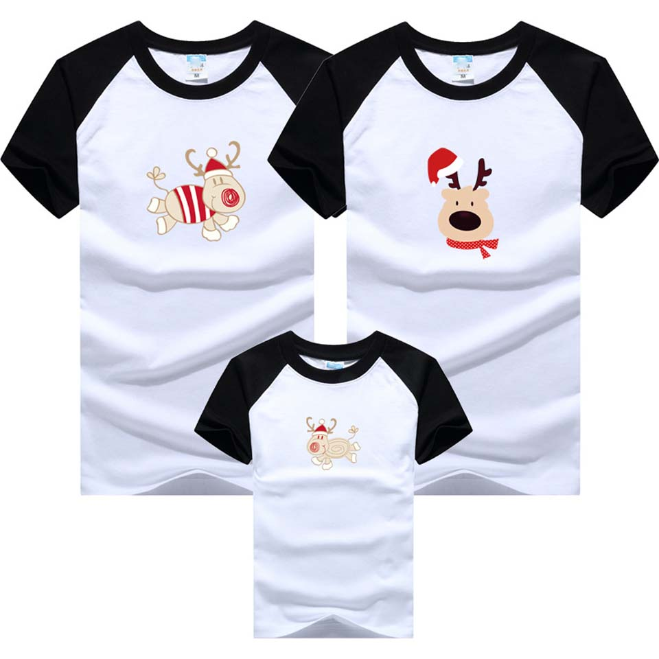 2019 Christmas Scarf Deer Family Clothing Family Look Mother Daughter T Shirt Clothes Family Matching Outfits Father Son T-shirt