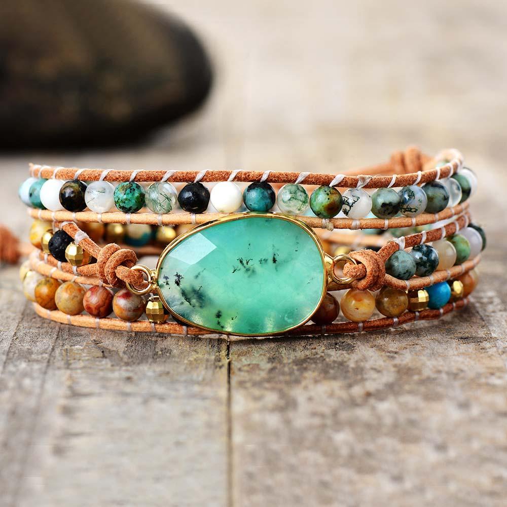 Exclusive New Women Bracelets Natural Stone Lava Beads 3 Strands Leather Wrap Bracelet Beads Bracelets Femme Dropshipping(China)