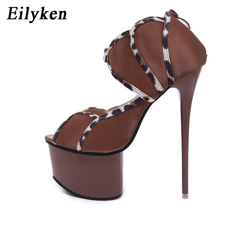 EilyKen/пикантные шелковые туфли-лодочки с коричневым цветком; женские туфли с открытым носком на шпильке; туфли на платформе и высоком каблуке...