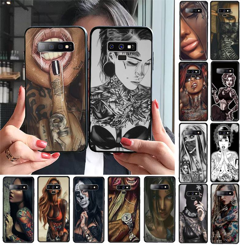 YNDFCNB Sexy Sleeve Tattoo Girl Phone Case For Samsung Galaxy A30 A20 S20 A50S A30S A71 A10 A10S A7 A8 A6 plus Cases