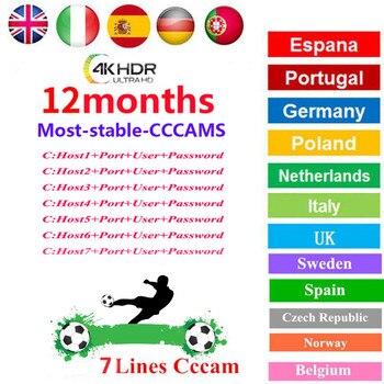 TV receiver oscam cline 7 / 8 line cccam Europa satellite V8 Nova v8super European channel 1 year Spain