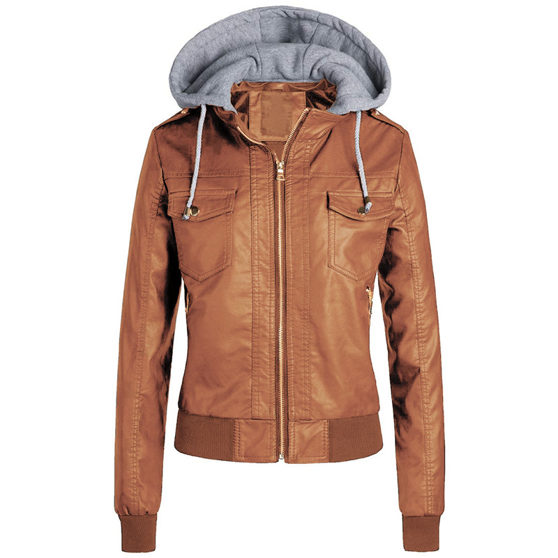 Winter Faux   leather   coat women Black brown 3XL plus size loose tops 2019 new hooded plus thick fashion faux   leather   jacket LR661