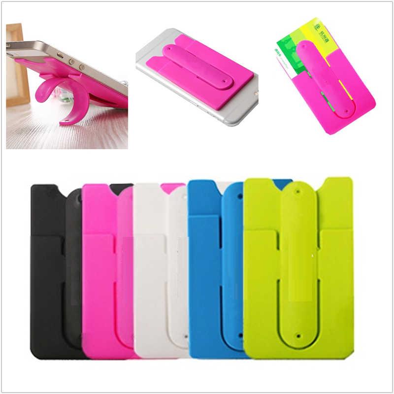 الملونة 9.5*5.5*0.4 سنتيمتر 3M لاصق ملصق سيليكون الهاتف المحمول عودة حافظة للبطاقات الحقيبة حالة حامل حامل إرسال عشوائي