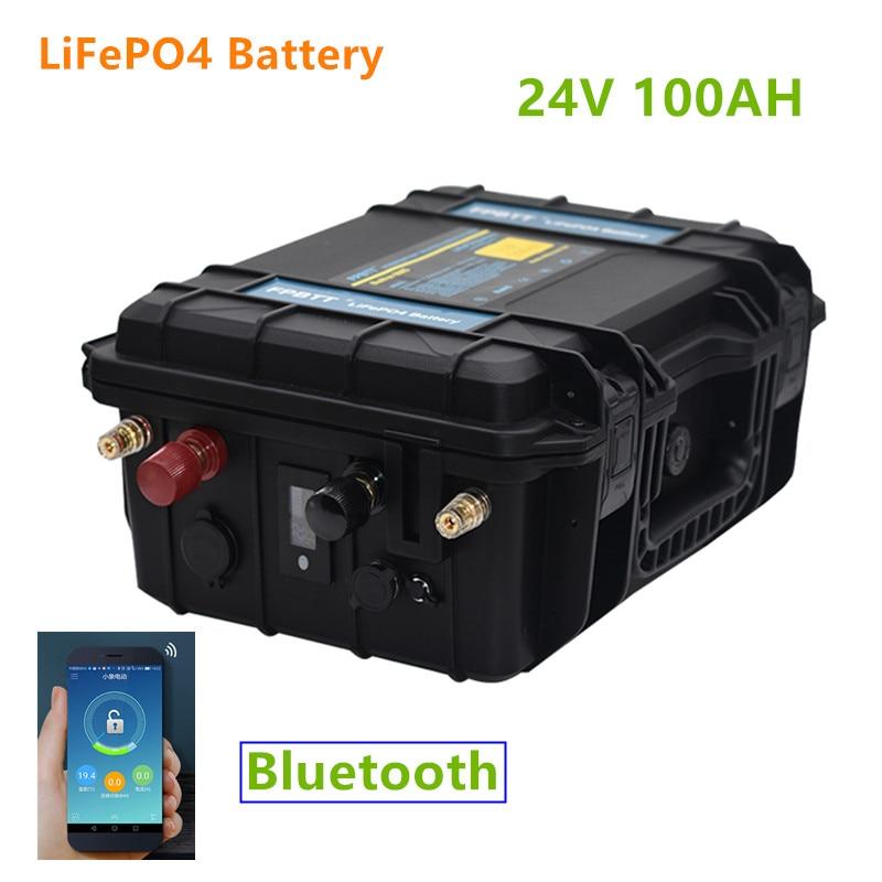 24V 100AH LiFePO4 batterie intégrée dans Bluetooth BMS 24v lifepo4 batterie 100ah 24V batterie pour moteur de bateau, onduleur