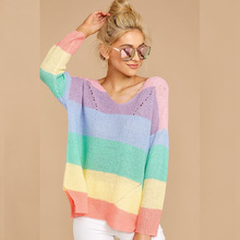 QUEVOON Rainbow Sweater for Women Hollow out V-Neck Long Sleeve Slit Hem Oversized Sweater Autumn Winter Knitted Pullover Femme brown cross straps front round neck slit hem knitted jumper