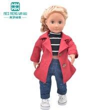 Cabe 43cm bebê brinquedo boneca recém nascido e 45cm americano roupas moda casacos, t-shirts, jeans presente da menina