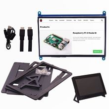 7 Polegada ips tela sensível ao toque para raspberry pi 4, 1024x600 capacitivo hdmi lcd monitor de tela sensível ao toque portátil para pi 3 b +