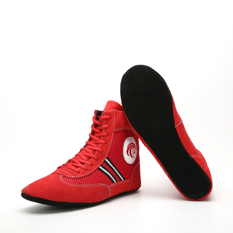Men Boxing Wrestling Shoes Cow Muscle Outsole Breathable Combat Sneakers Lace Up Boots Boxing Shoes