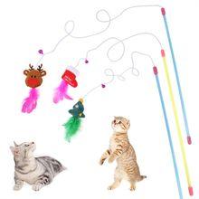 Новые забавные рождественские перьевая кошачья игрушка для Дразнилка
