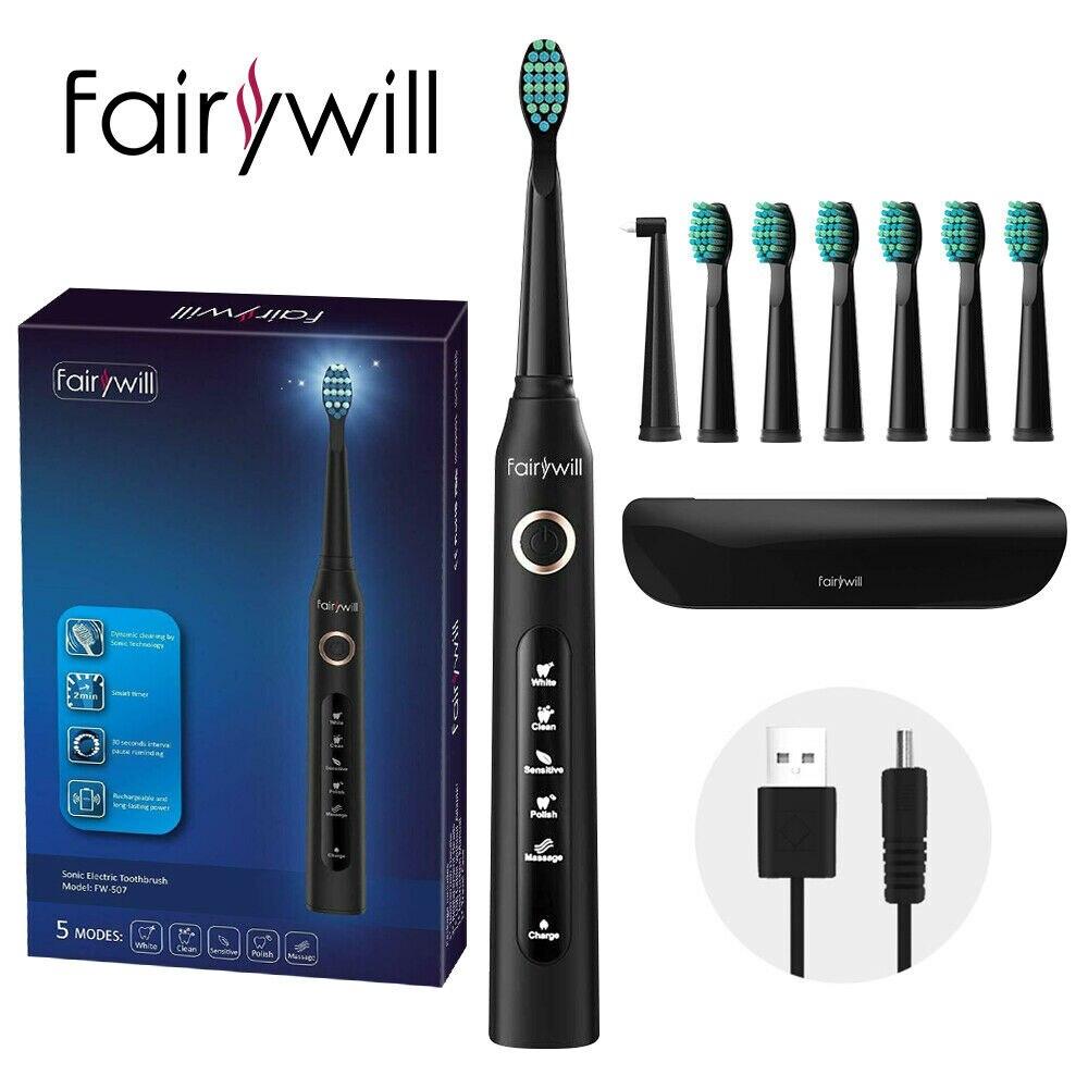 Fairywill brosse à dents sonique électrique FW-507 Rechargeable USB Charge étanche électronique dent 8 brosses têtes de rechange adulte
