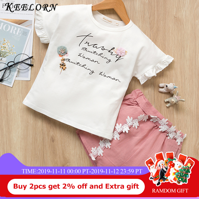 Keelorn Kids Clothes 2017 Summer New Girls Clothng Sets kids clothes Sleeveless T-shirt+Print Pants 2Pcs Suit for