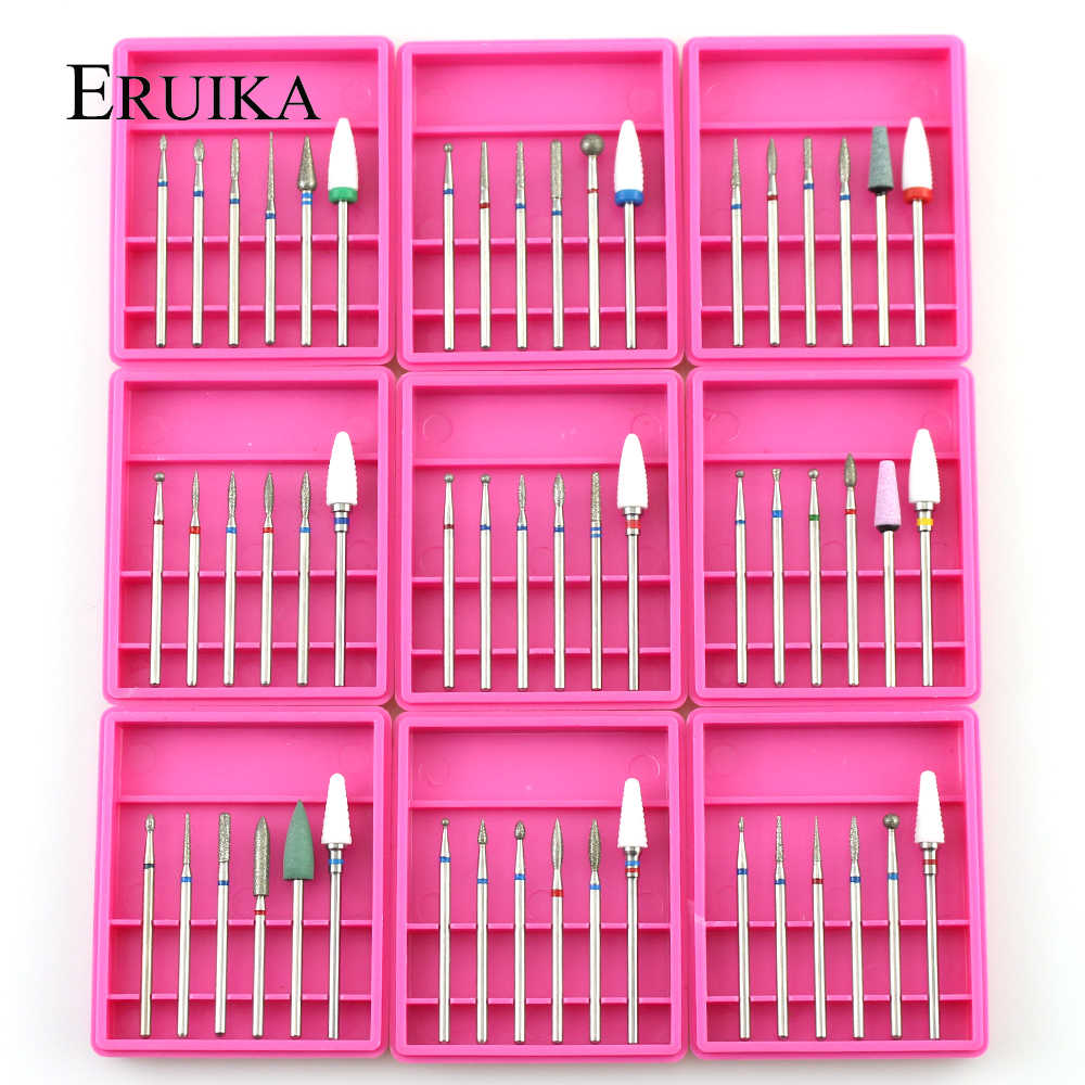 ERUIKA 6pcs Ceramic Diamond Nail Drill Set Milling Cutter for Manicure Rotary Burr Clean Bits Electric Machine Art Accessory