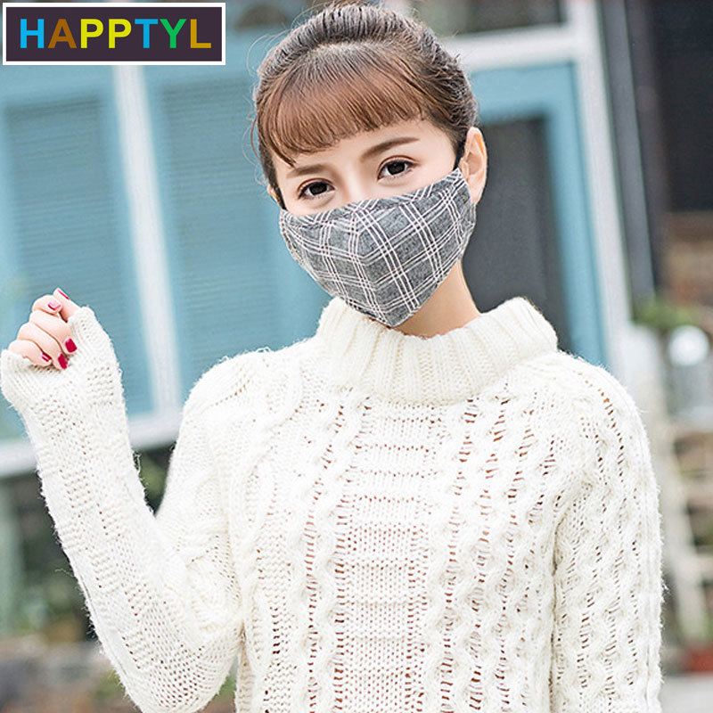 HAPPTYL 1Pcs Fashion Lattice Cotton PM2.5 Black Mouth Mask Anti Dust Mask Activated Carbon Filter Windproof Mouth-muffle