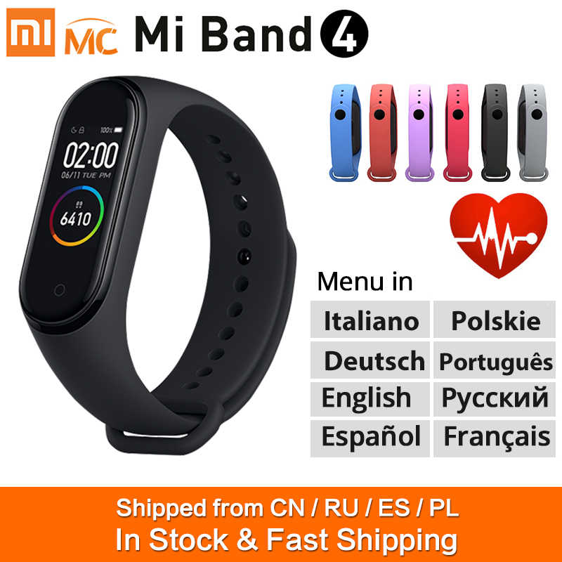 Braccialetto intelligente Xiao mi Band 4 originale mi band 4 Smart Band Fitness tracker schermo amolizzato a colori Bluetooth 5.0 Sport impermeabile