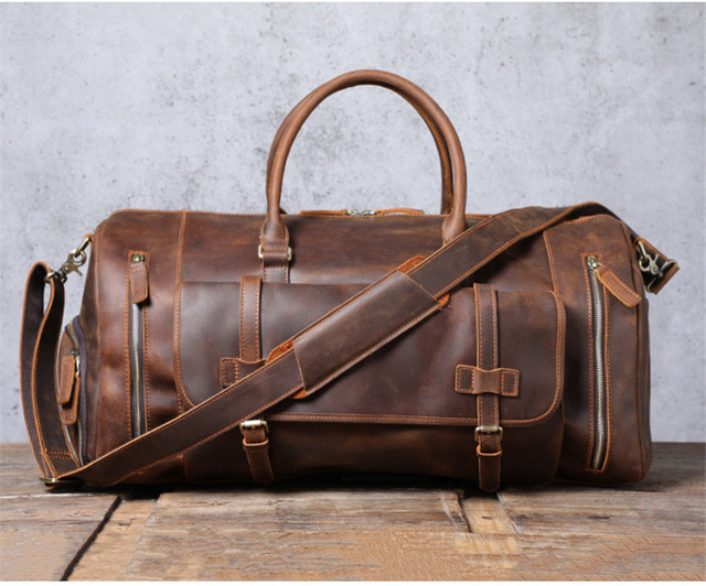 PNDME vintage large capacity genuine leather travel bag natural crazy horse cowhide handbag duffel bag real leather luggage bag 2
