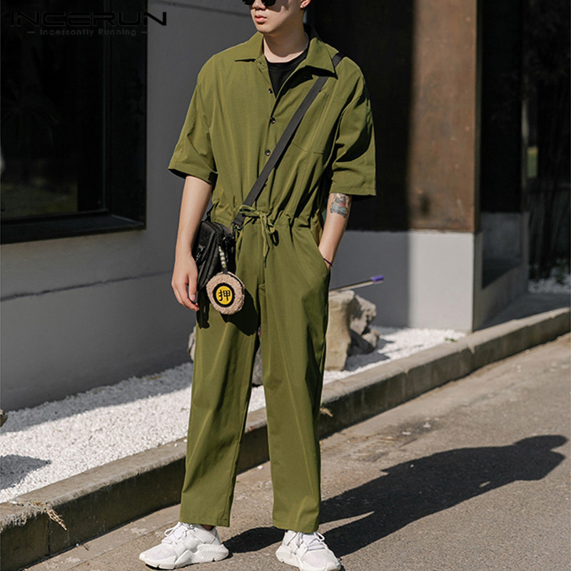 INCERUN Mens Cargo Overalls Half Sleeve Solid Color Jumpsuits Joggers Chic Button Street Fashion Rompers Casual Men Pants 2020