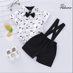 Costume for Baby Boys Suits Formal Children Fantasy Boy Child Suit Bow Dress Shirts Bodysuit+Overall Wedding Wear Child Clothing(China)