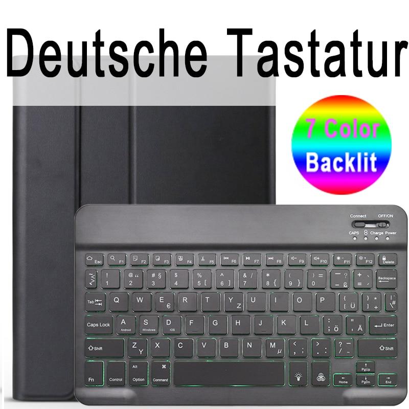 German Keyboard Colored 7 Colors Backlit 3 0 Bluetooth Keyboard Case for iPad 10 2 Keyboard Case for Apple