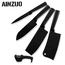 AINZUO 5 Pcs Kitchen Knife Set 4cr14 Stainless Steel Utility Santoku Chopping Nakiri Sharpener Accessories Tools