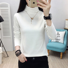 YUANYU Slim Casual Solid color T-shirt Korea Long Sleeve Turtleneck Female Women Basic knitting T-shirts