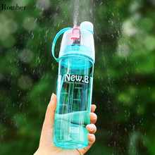 Romher 2020 Spray Water Bottle Portable Atomizing Bottles Outdoor Sports Gym Drinking Drinkware Shaker 400ML 600ML F5
