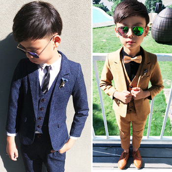 цена на 2019 Kids Blazer Boys Suits for Weddings Vest Blazers Pants 3pcs Wedding Cotton Formal Party Baby Boy Outerwear Children Clothes